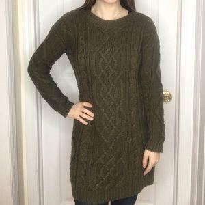 Hunter Green Long Sleeve Knit Sweater Dress